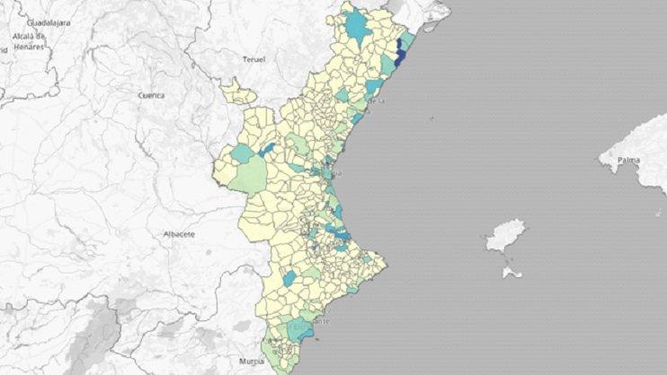Mapa de pruebas PCR en la Comunidad en los últimos 14 días/GVA