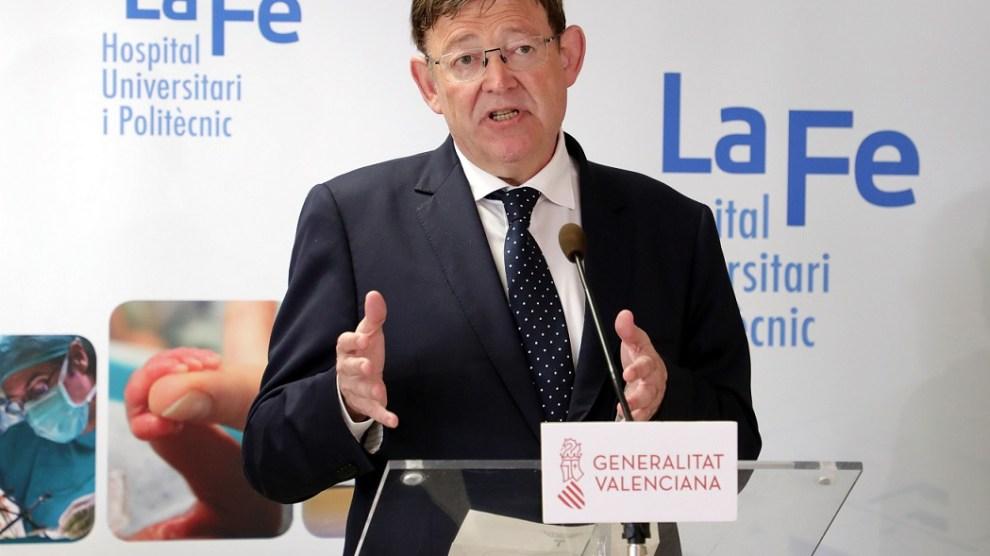 Imagen del presidente de la Generalitat, Ximo Puig de este lunes en La Fe,/informaValencia