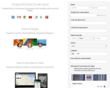 Come creare un account Google per Gmail GDrive e Google Suite e tutti i relativi servizi
