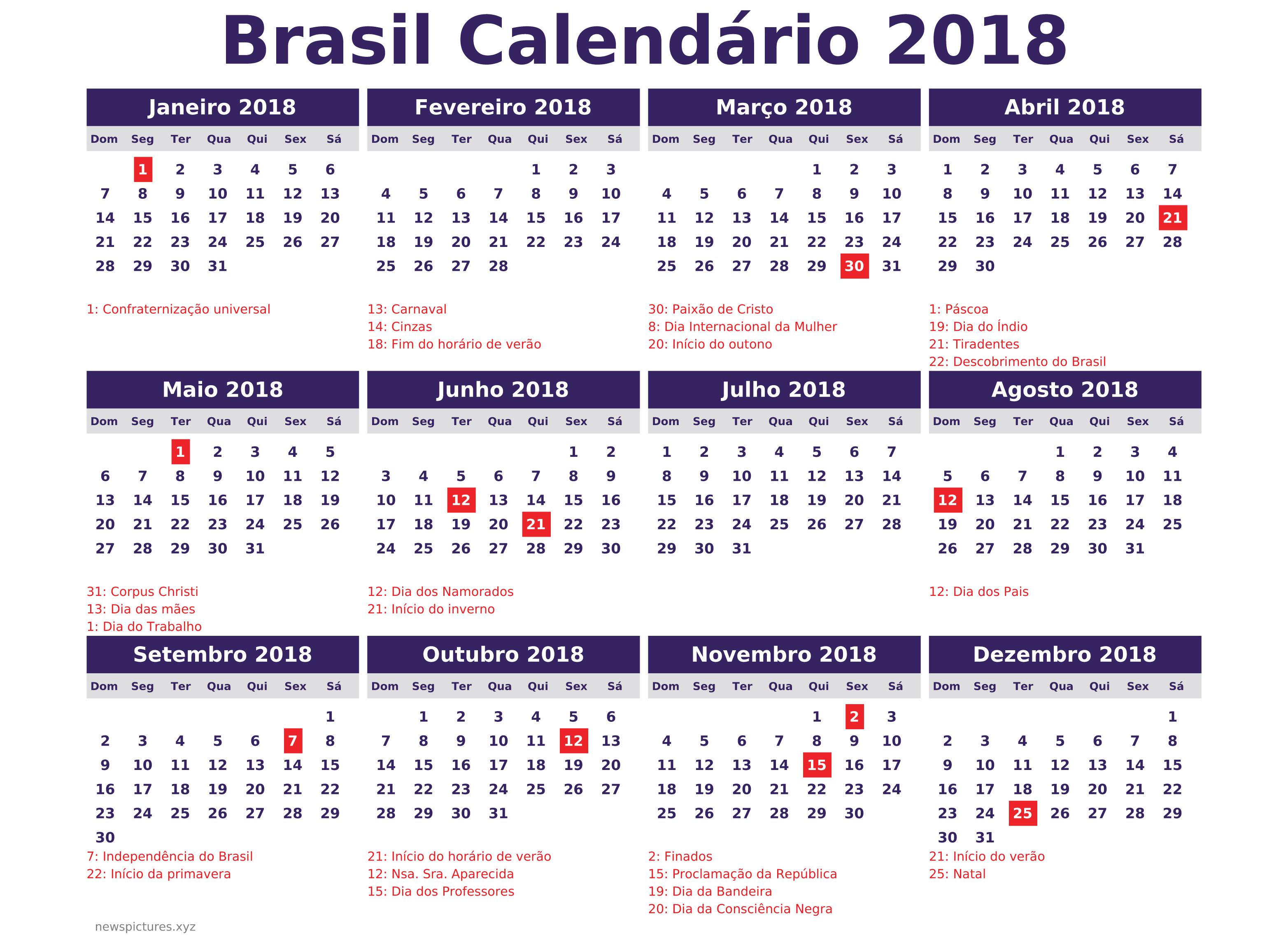Calendario 2018 Brasil.2018 Com Muitos Feriadoes Informe Blumenau
