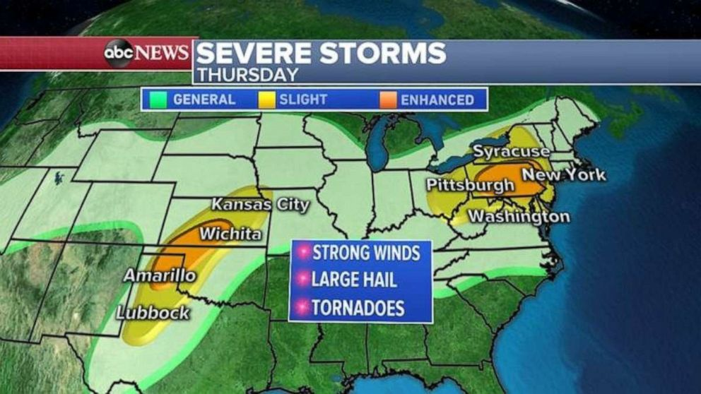 After 56 reported tornadoes in 2 days, severe weather heads