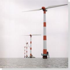 Ветродвигатели на шельфе Нидерландов.