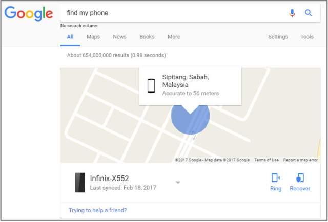 find my phone dalam google search