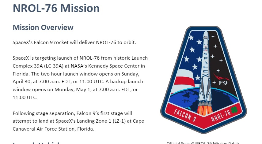 PDF. Falcon 9 - NROL-76 Press Kit