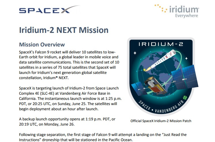 PDF. Falcon 9 - Iridium 2 NEXT Launch Press Kit