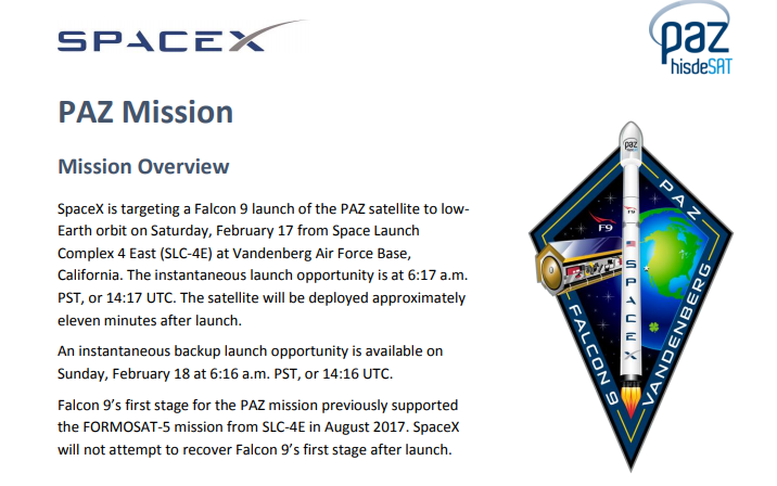 2 PDF. Falcon 9 - Paz Launch Press Kit (Actualizado)
