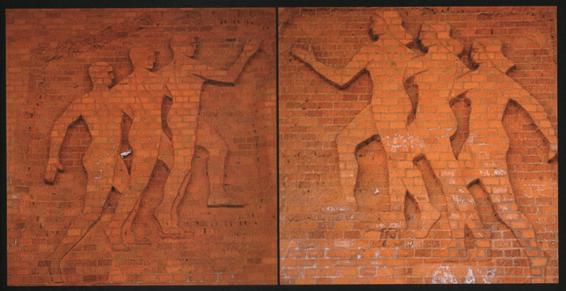 Composición de los murales exteriores en ladrillo