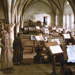 Fray Guillermo de Baskerville y Adso de Melk, visitan el scrptorium de la abadía.