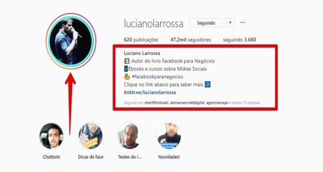 dicas de instagram para iniciantes bio