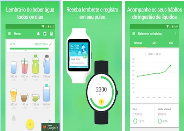 App Beba água lembra a hora de tomar água