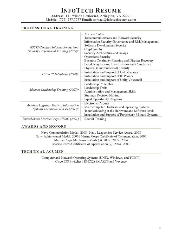 Sample security specialist resume