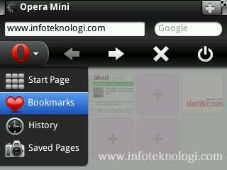 Gambar menu di Opera Mini 6