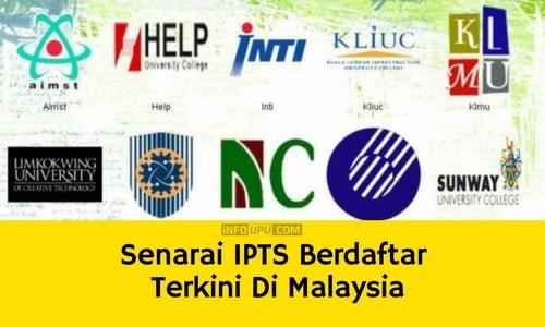 Senarai IPTS Berdaftar Terkini Di Malaysia