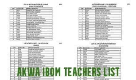 Akwa Ibom Teachers List of Successful Candidates
