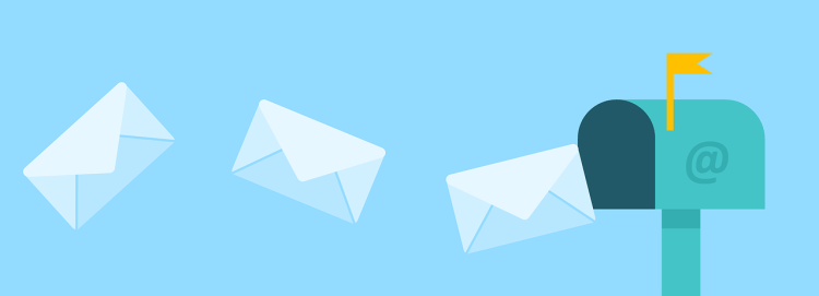 Color photo of 3 letters flying into the mailbox with @ on it.
