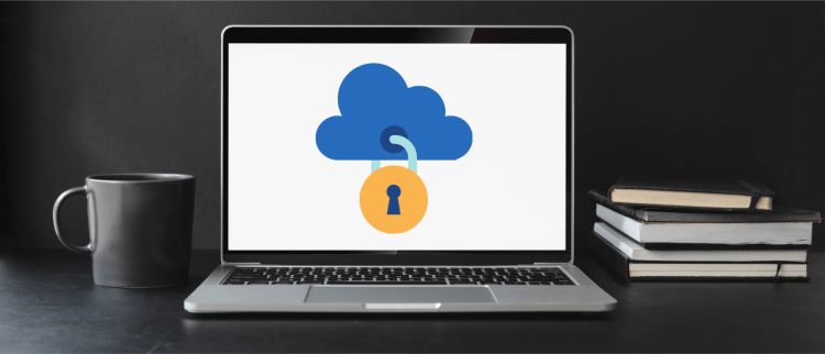 Color photo of a laptop with a cloud and a lock on the screen; used to present one of the 2021 Cybersecurity predictions.