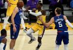 Dennis Schröder (M) zeigte bei seinem Debüt für die Los Angeles Lakers eine starke Leistung. Foto: Hans Gutknecht/Orange County Register via ZUMA/dpa