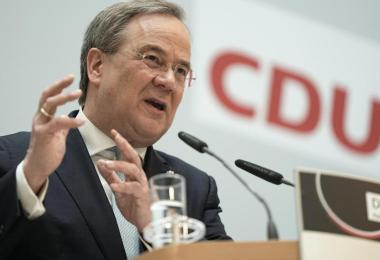 Armin Laschet gibt im Anschluss an die Sitzung des CDU-Präsidiums eine Pressekonferenz. Foto: Michael Kappeler/dpa