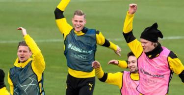 Die BVB-Profis um Lukasz Piszczek, Steffen Tigges, Raphael Guerreiro und Erling Haaland (l-r) wollen Manchester City die Sensation schaffen. Foto: Bernd Thissen/dpa