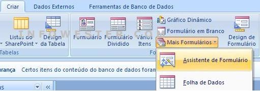 Divisão de formulários do menu Criar