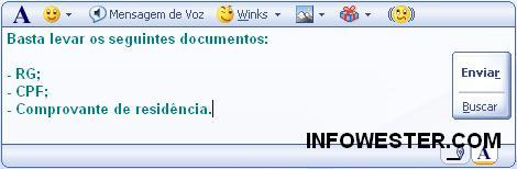 Digitando textos no MSN com Shift e Enter