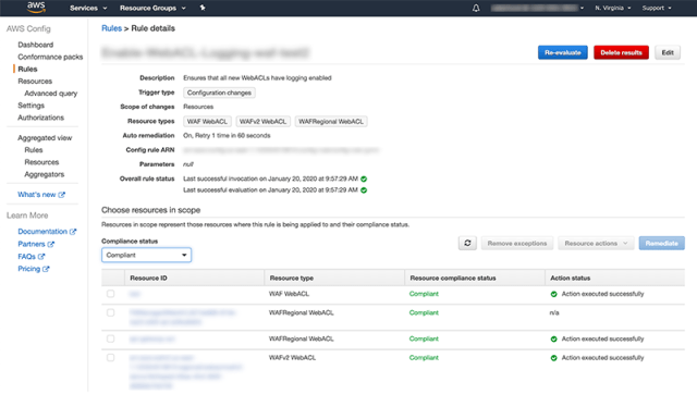 Figure 3: Compliance status of web ACLs in AWS Config