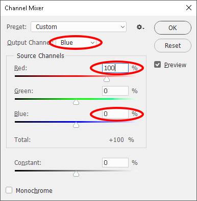 Adobe Photoshop Kırmızı ve mavi renk kanallarının ters çevrim işlemi