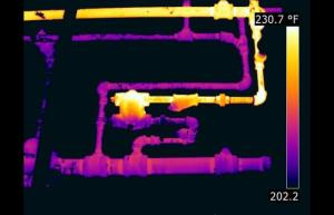 Infrared image of a steam trap - Infrared Imaging Services LLC