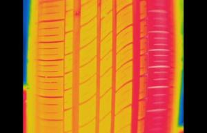 Left Tire. Uneven temperature profile shows tire alignment issues - Infrared Imaging Services LLC