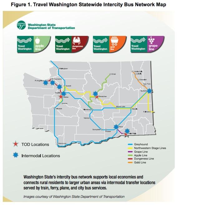 Figure 1. Travel Washington Statewide Intercity Bus Network Map