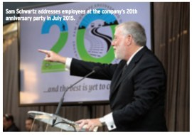 The Enduring Legend of Gridlock Sam: Sam Schwartz addresses employees at the company's 20th anniversary party