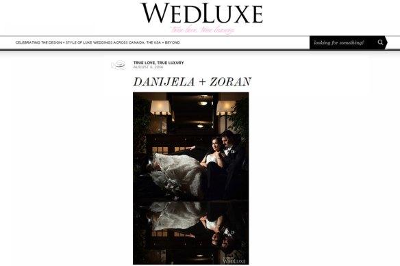 Danjiela + Zoran featured on Wedluxe