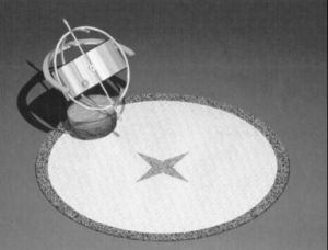 """Meridiana equatoriale cilindrica a ora del fuso con linee di declinazione semi-circolari; queste ultime consentono la lettura, per interpolazione, della correzione stagionale detta """"Equazione del Tempo"""""""
