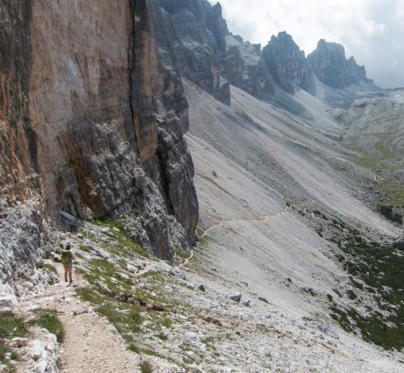Across a scree slope.