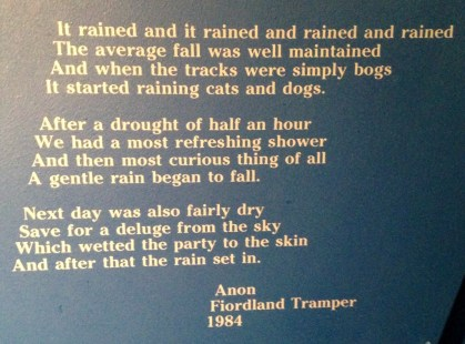 It rains here (sign in the DOC visitor centre)