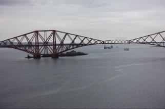 Firth of Forth bridge, castle and oil platform.