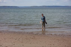 Nairn - wading in the North Sea