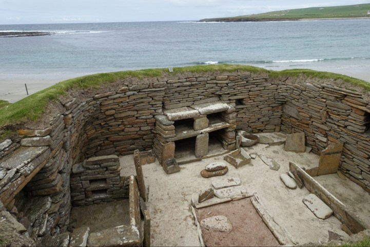 Remains of a prehistoric house at Skara Brae, from about 3500 BC.