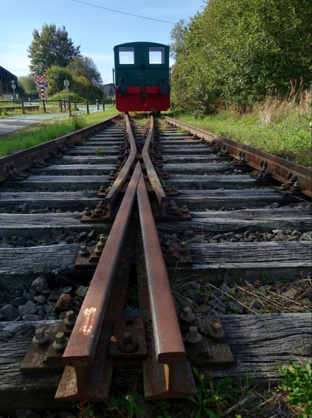 Old rails and locomotive beside the Vennbhan trail.