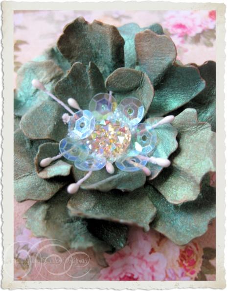 Handmade turquoise paper flower