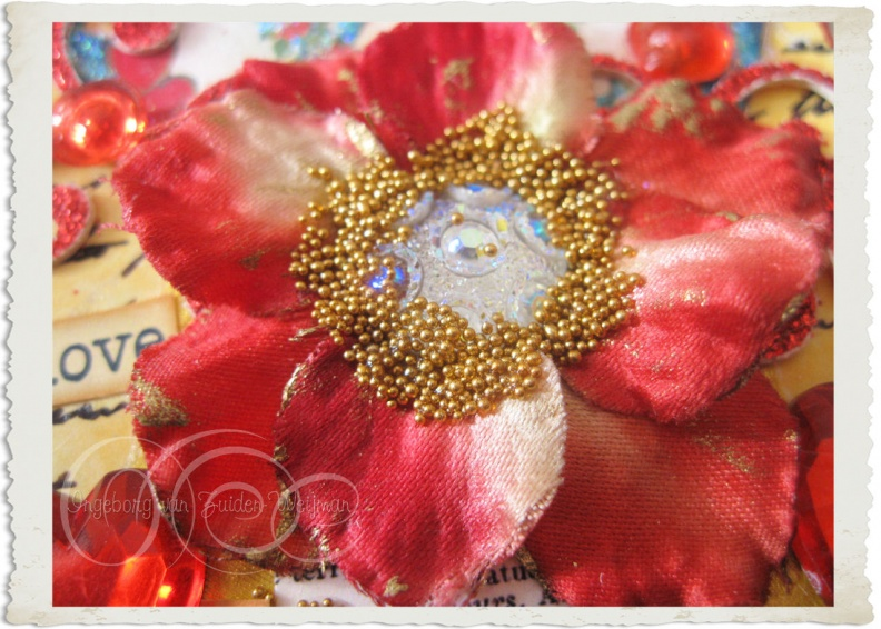 Details of fabric flower on handmade card
