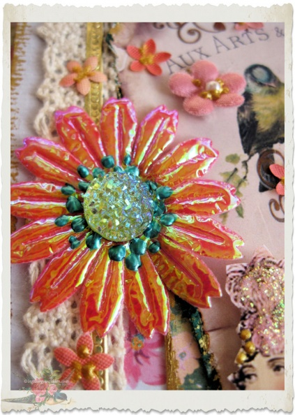 details of flower on handmade card