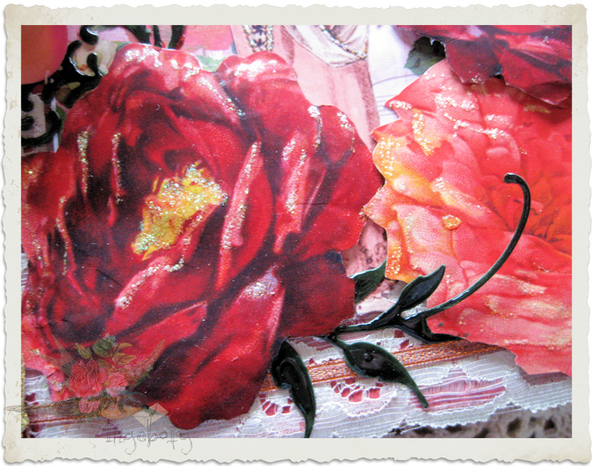 Details of roses on frontside of young ladies journal