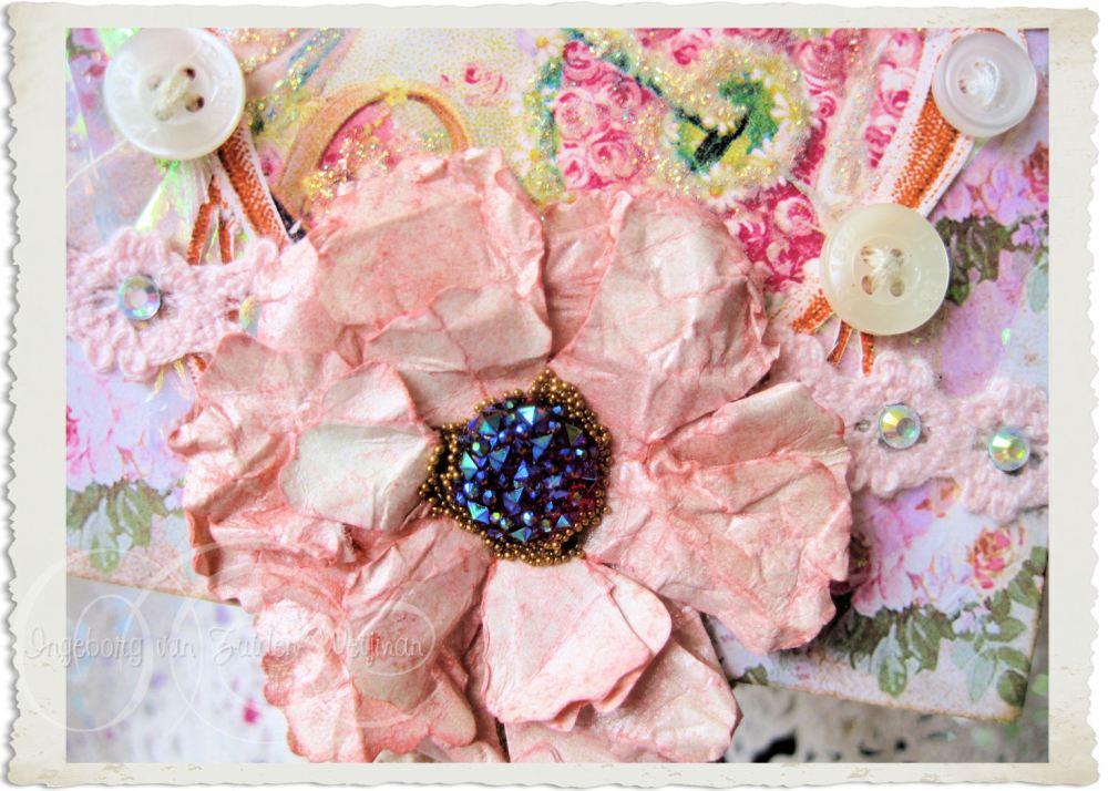 Handmade pink ruffled paper flower with bling heart by Ingeborg van Zuiden