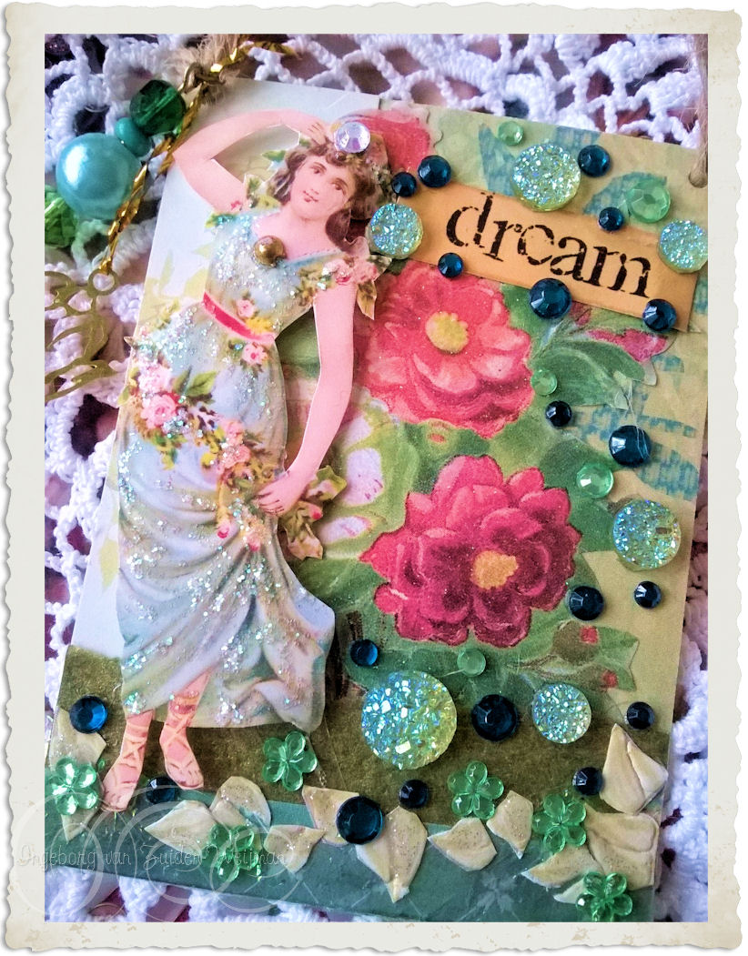 Handmade green vintage style atc aceo card with inspirational wordart by Ingeborg van Zuiden