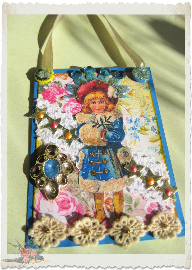 Handmade winter snow fairy atc card by Ingeborg van Zuiden