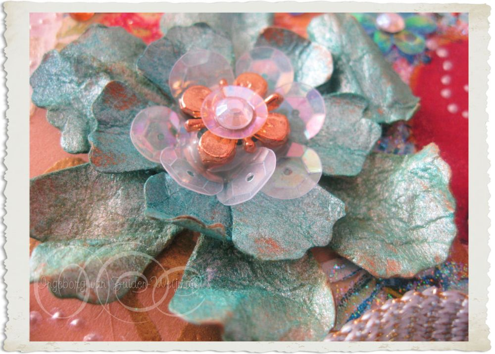 Dyed paper flower with sequin
