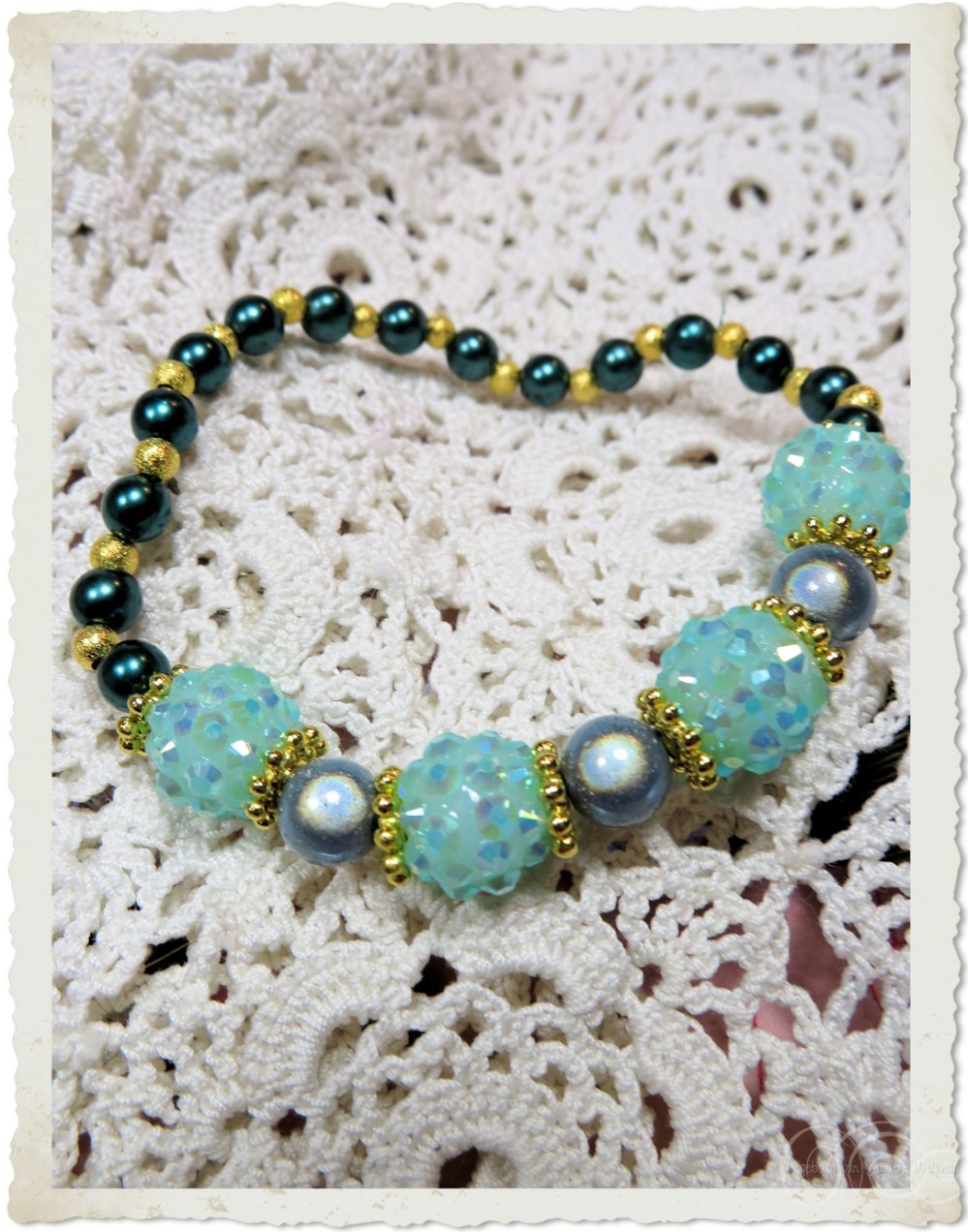 Seagreen berry beads and miracle beads bracelet