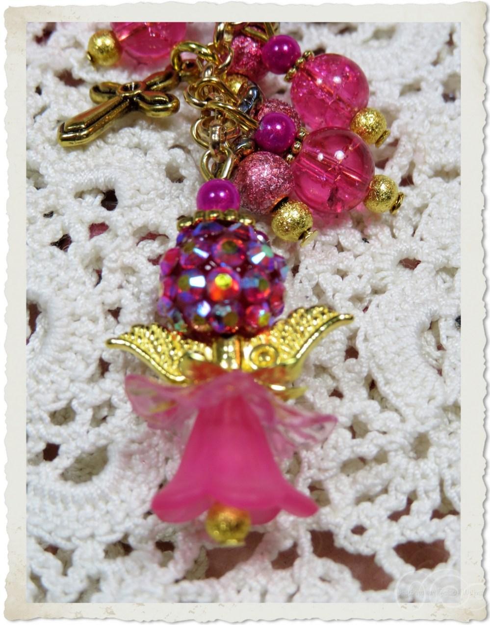 Pink shamballa angel with golden wings by Ingeborg van Zuiden