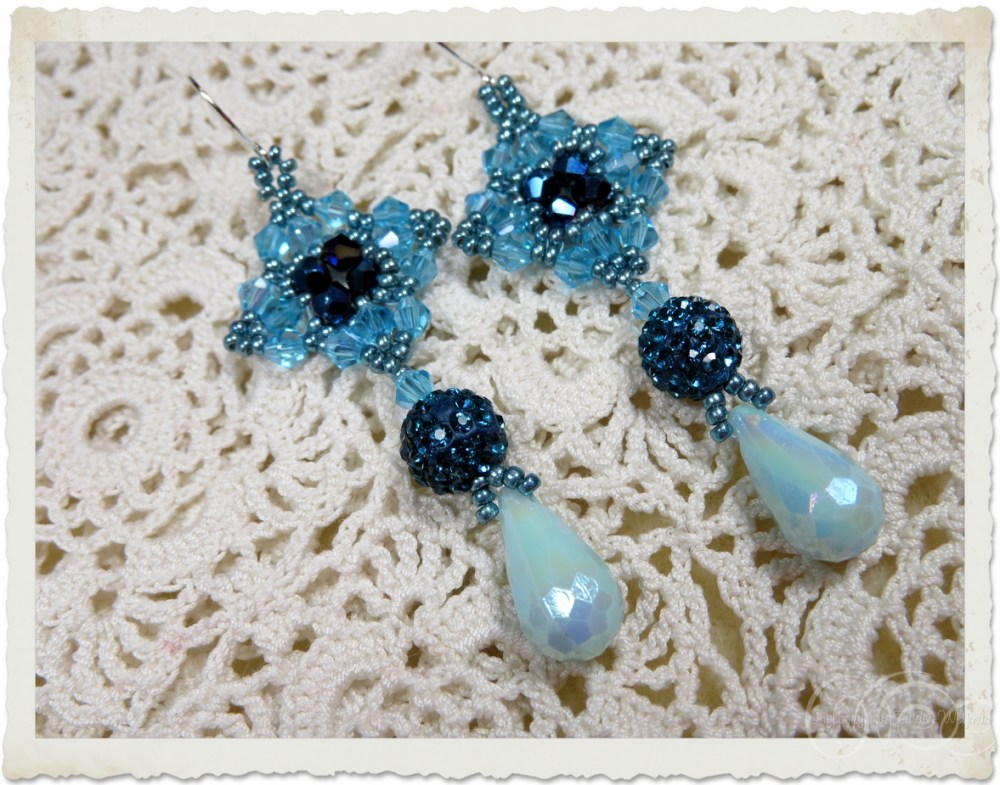 Turquoise bling earrings with bicone beads